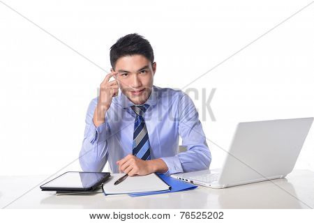 frustrated guy using his laptop isolated on white background