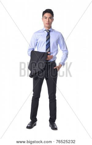 Full body young business man standing against white background