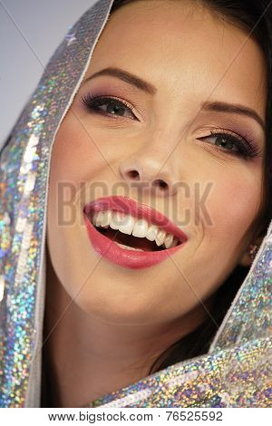 Woman Wearing A Sequin Hoodie