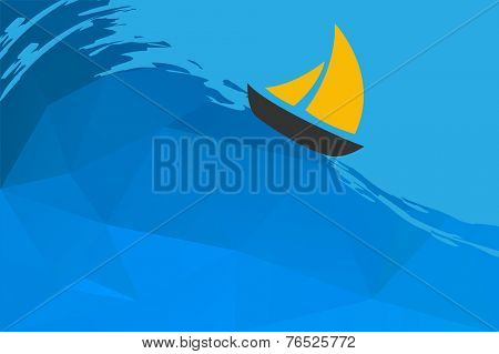 Seascape with boat, vector illustration