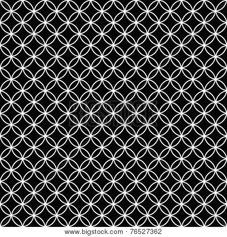 Black And White Interlocking Circles Tiles Pattern Repeat Background