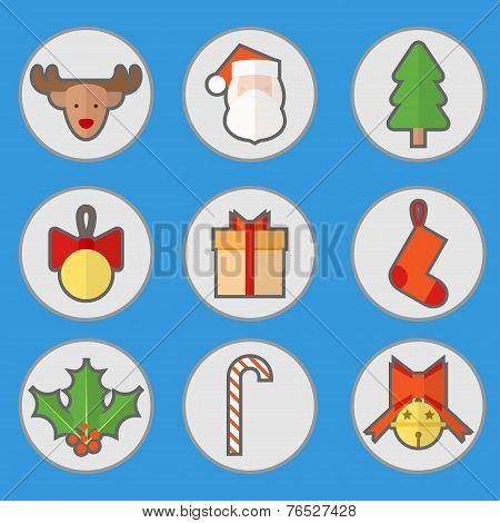 Flat Christmas Set Icon