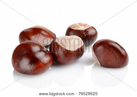 Closeup Shot Few Chestnuts Isolated On White Background