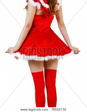 Christmas Woman Wearing Red Santa Claus Dress