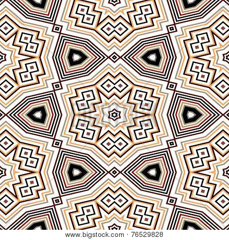 Seamless Geometric Pattern In Black, Orange And Red