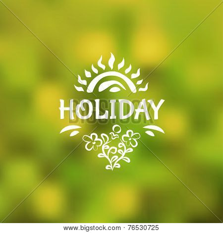 Vector Blurred Background With The Sun, Ornamental Leaves And Flowers