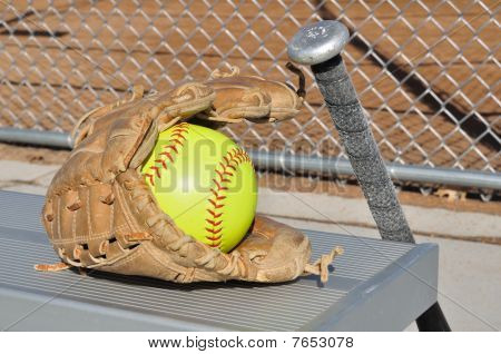 Yellow Softball, Bat, And Glove