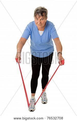 Senior Woman Exercising With Rubber Band