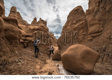 Thirsty Hiker - Girl Handing Bottle Of Water To Herself - Concept