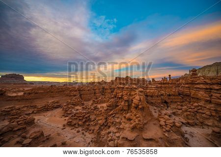 Beautiful Sunset Sky Over The Goblin Valley