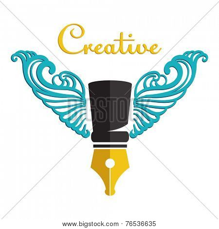 Symbol of creativity - winged pen