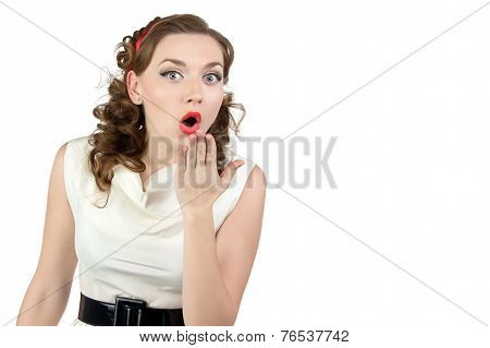 Image of very surprised woman with hand