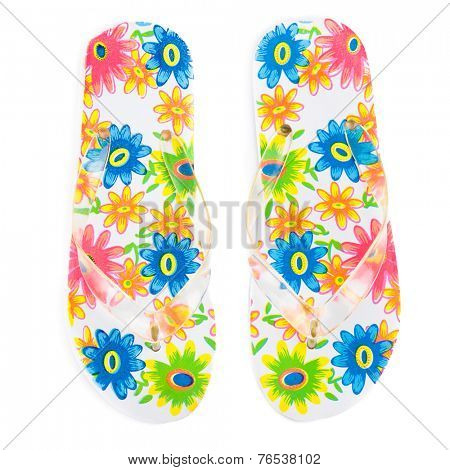 colorful flip-flops with flowers isolated on white background