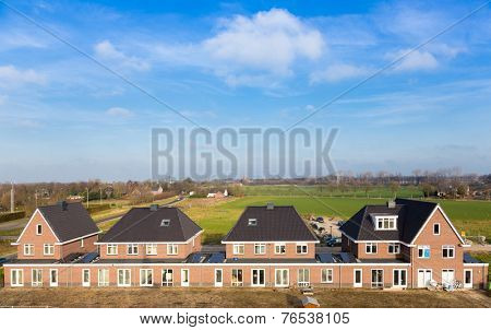 A row of new houses in the Netherlands.Aerial view