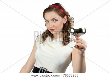 Photo of woman with metal snifter