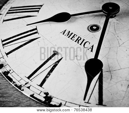 American Black And White Clock