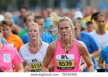 Focused Woman Running