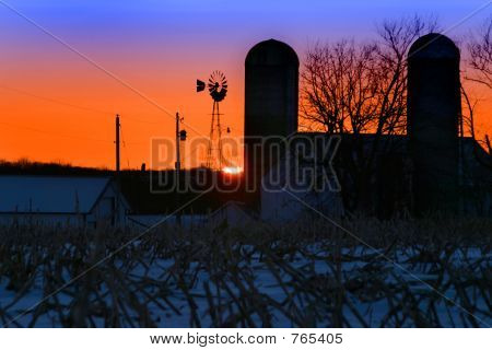 Winter Farm Sunset