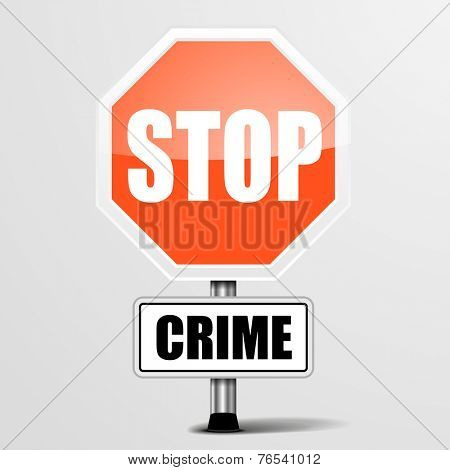 detailed illustration of a red stop crime sign, eps10 vector