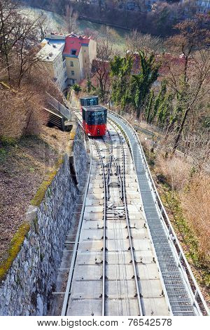 Funicular Climbing To Schlossberg And Graz City Panoramic View