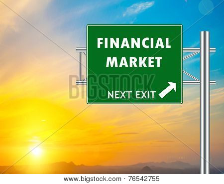 Financial Market Green Road Sign