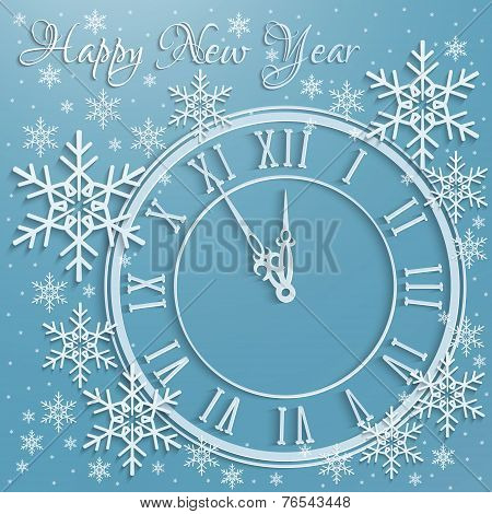 Christmas Background With Snowflakes And Clock
