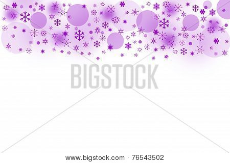 The Purple Blured Balls And Snowflakes On A White Background