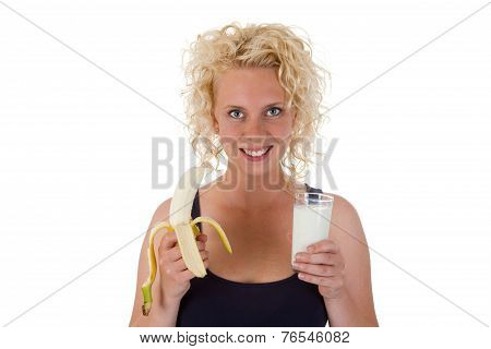 Young Woman With Milk And Bana