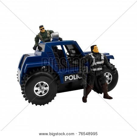 Police car with soldier cops.