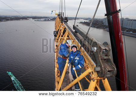 High-altitude Installation Work Working Console Tower Crane.