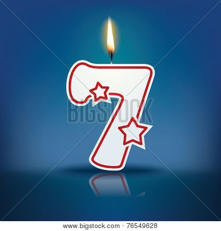 Candle number 7 with flame - eps 10 vector illustration
