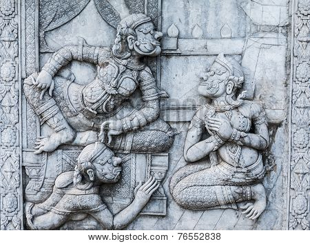 Masterpiece Of Traditional Thai Style Stucco Art Old About Ramayana Story On Temple Decorative Wall