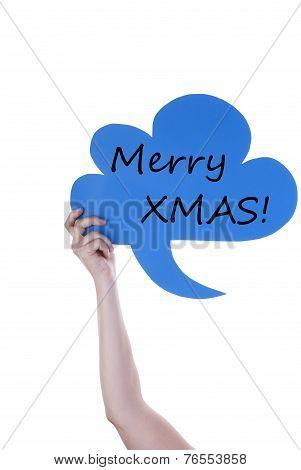 Blue Speech Balloon With Merry Xmas
