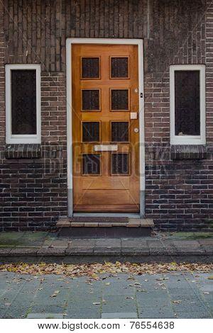Wooden Door And Windoes In European Town