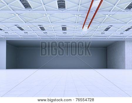 Interior of an empty hangar.