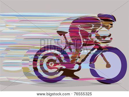Artistic stylized racing cyclist in motion. Vector illustration.