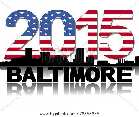 Baltimore skyline 2015 flag text vector illustration