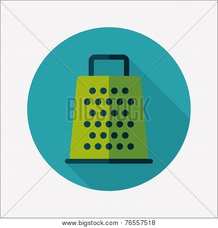 Kitchenware Grater Flat Icon With Long Shadow,eps10