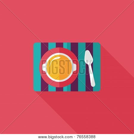Tableware Flat Icon With Long Shadow,