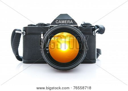 Old SLR Black Camera on White Background
