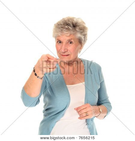 Senior Older Woman Pointing