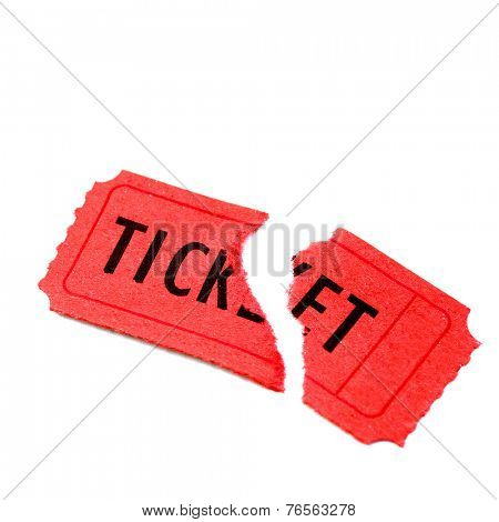 Single torn red ticket for admission to an event