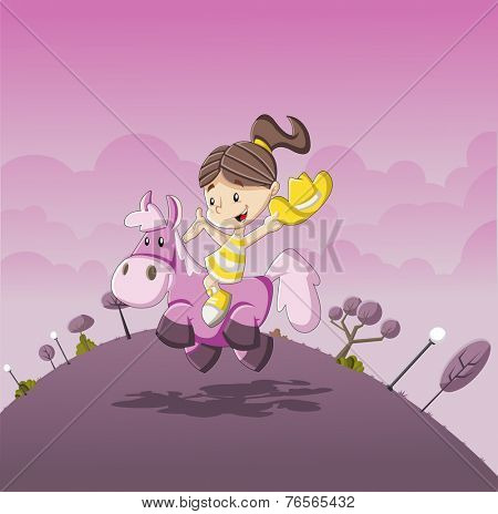 Cartoon girl riding a pony on pink park