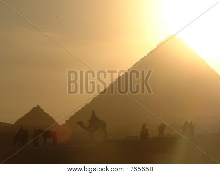 Sunset at the pyramids in Giza, Egypt