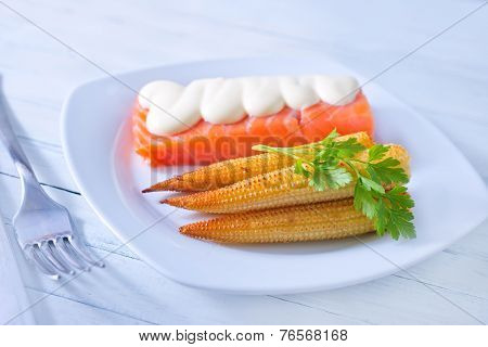 corn and salmon