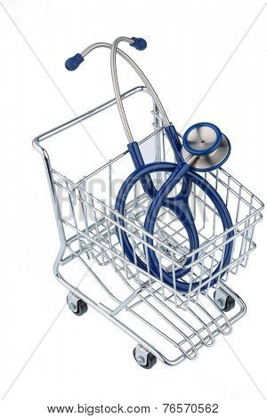 stethoscope and shopping cart, photo icon for the medical profession and practice acquisition