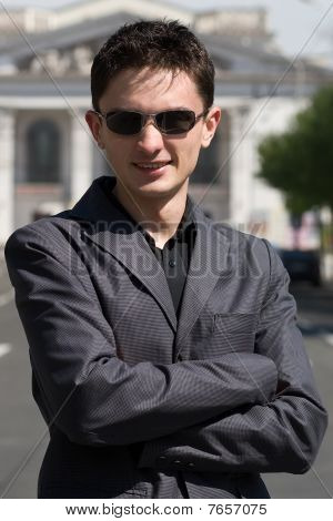 Young Adult European Man In Black Sunglasses