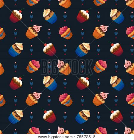 Super cake seamless pattern. Chocolate and vanilla desserts. Cupcake and cherry. sweets and pastries