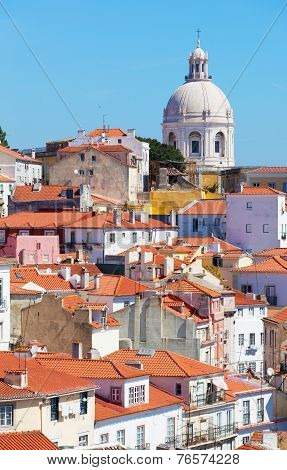 Lisbon view of Alfam's region and Santa Engrassiya's (Pantheon) church