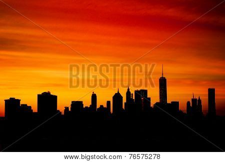 Silhouette Of Downtown Manhattan at dusk